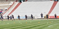 Players having introductory tests at the beginning of preparations