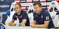 Trener Jens Gustafsson i Gergő Lovrencsics uoči uzvratne utakmice s Tobolom