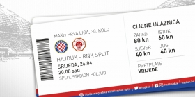 Hajduk vs RNK Split tickets on sale