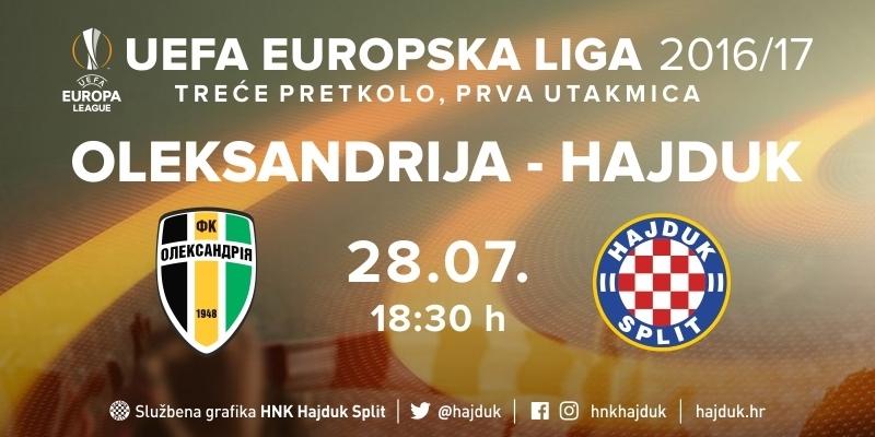 Europska liga: Hajduk protiv Oleksandrije od 18:30 sati