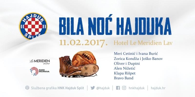 Bila noć Hajduka 11. veljače u hotelu Le Meridien Lav