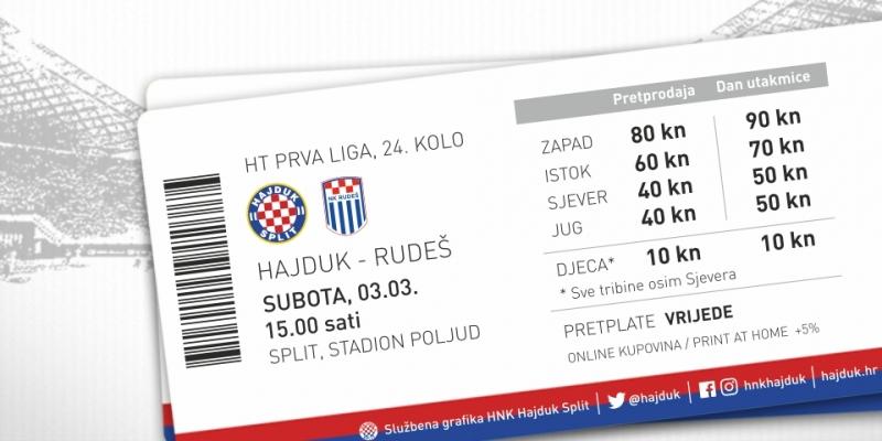 Prodaja ulaznica za utakmicu Hajduk - Rudeš!