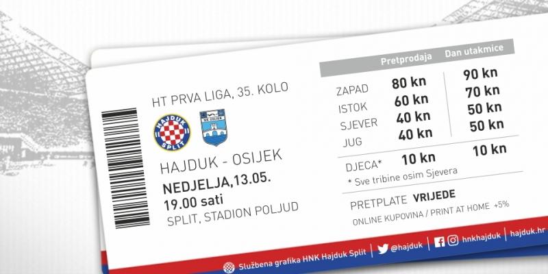Prodaja ulaznica za utakmicu Hajduk - Osijek