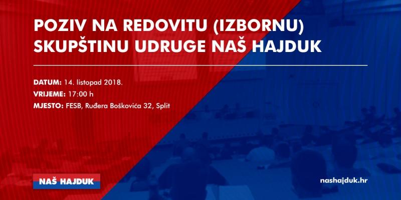 Poziv na Redovitu (Izbornu) skupštinu Udruge Naš Hajduk