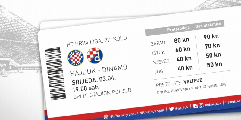 Tickets for Hajduk - Dinamo on sale
