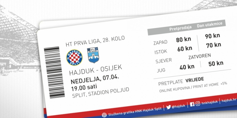 Tickets for Hajduk - Osijek on sale