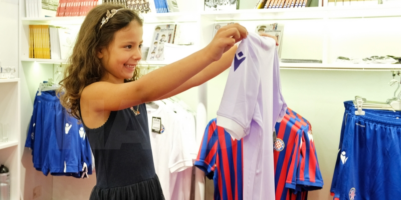 Six year old Lucija is a proud owner of the first lavender jersey