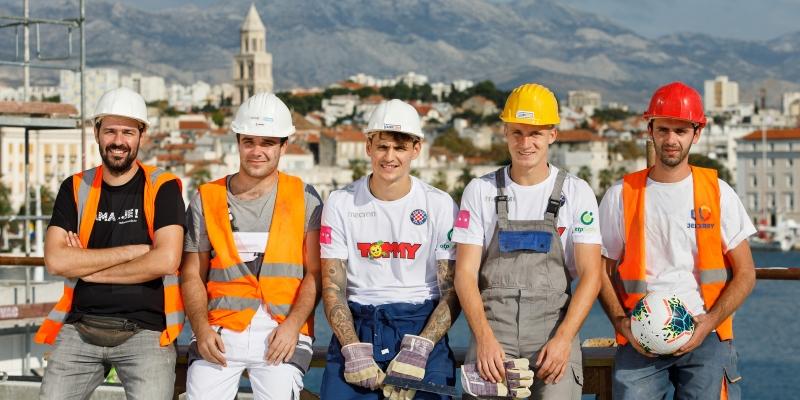 Calendar photo shoot behind the scenes: construction site, hospital, shop, bank, school...