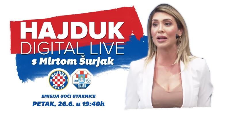Hajduk Digital Live u petak od 19:40 sati